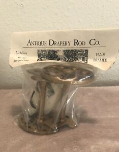 NEW Antique Drapery Rod Co. Medallion Bracket Pair Antique Gold ADR