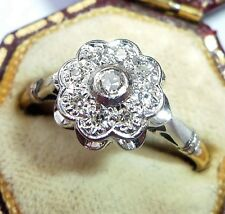 Cluster Ring, Size Q Vintage 18ct Gold Diamond Daisy
