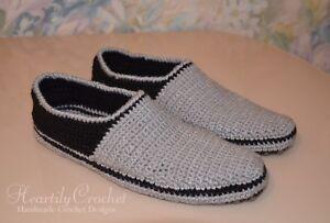 handmade men's crochet slippers, knitted socks, wool black boots, house shoes