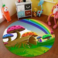 3D Rainbow Mushrooms 3 Non Slip Rug Mat Room Mat Round Quality Elegant Carpet AU