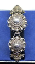 Antique (1890s) Sterling Silver Dutch A.M. Bracelet, Extremely Detailed, 7 3/4""