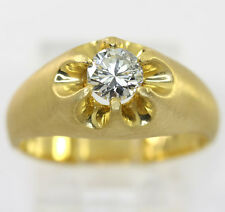 Mens diamond pinky ring 22K yellow gold solitaire G color round brilliant .65CT!