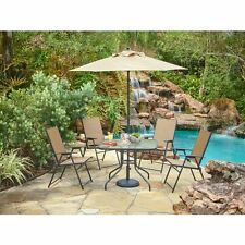 6 Piece Outdoor Folding Patio Set - With Table, 4 Chairs, Umbrella and Built-In