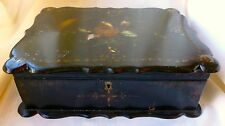 Antique PAPER MACHE Box Hand Painted MOTHER OF PEARL Scalloped Shape
