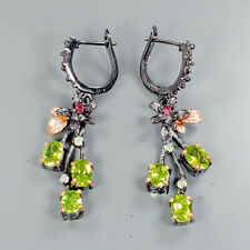 Fineart Antique Vintage Natural Peridot 925 Sterling Silver Earrings /E30550