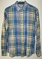 Tailored By J. Crew Blue Plaid Button Down Long Sleeve Cotton Shirt Mens Size S