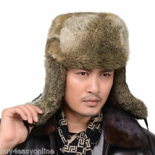 Brand New Men Snowboard Real Rabbit Fur Russia Trapper Aviator Bomber Hat Cap US