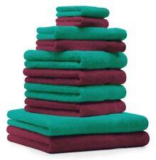 Betz lot de 10 serviettes Classic: rouge foncé & vert émeraude, 100% coton