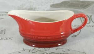 Le Creuset Stoneware Gravy Boat, Jug Microwavable Red 12-Oz. Exc. Cond.