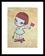 Yoshitomo Nara fille avec les drapeaux winker poster art imprimé & cadre 30x24cm