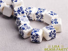 20pcs 10mm Navy Blue Cube Square Flowers Ceramic Porcelain Big Hole Loose Beads