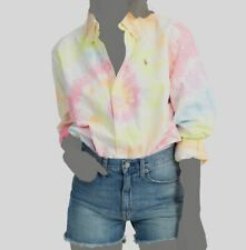 $235 Ralph Lauren Women's Big-Fit Pink Blue Tie-Dye Long-Sleeve Shirt Top Size S