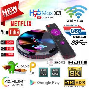 H96 Max X3 Android 9.0 TV Box S905X3 Quad Core 8K HD Media Stream device 5G WiFi