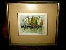 1929 Hans Figura Etching Moored Boats New York City Harbor Signed