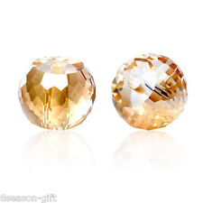 Glass Loose Beads Round Champagne Transparent Faceted 30 PCs High Quality DIY
