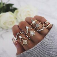 10 Pcs/set Gold Midi Finger Ring Set Vintage Punk Boho Knuckle Rings Jewelry NEW