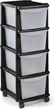 Tower Storage Unit 4 Drawer Wheels Plastic Black Basket Rack Moveable Drawers UK