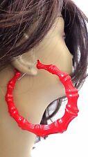 LARGE BAMBOO HOOP EARRINGS RED BAMBOO HOOPS FULL HOOP EARRINGS 3.5 INCH
