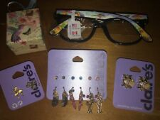 Claire's Bird Owl Lovers Jewelry Earrings Tropical Parrot Hologram Glasses Lot
