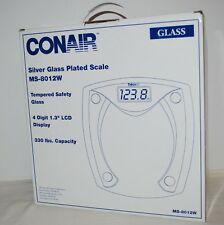 Conair Silver Glass Plated Bathroom Scale Ms-8012W 330 lb capacity New in Box