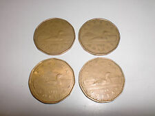 Lot of 4 Canada dollar COINS - 1987 1988 1989 Loonies Canadian one dollar $1
