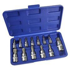 Embout Torx / Star peu Sockets T8-T70 1/4pouce3/8pouce et 1/2pouce 13pcs Shallow