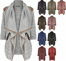New Womens Knitted Open Zip Pocket Long Sleeve Shoulder Top Ladies Cardigan
