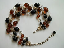 """CORO beaded vintage necklace,3 strands,12""""+3""""ext,great pre-own cnd,black,amber++"""