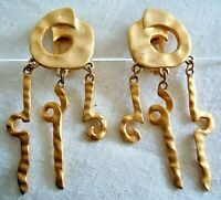 Vintage 1980s Runway BIG Bold Abstract Brushed Gold Tone Clip Dangle Earrings