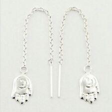 Sterling Silver Ahimsa Hand Threads Threader Earrings Spiga Chain Love Solid 925