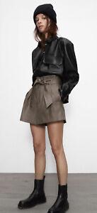 BNWT Zara Faux Leather Short 7102/266 Size XS