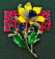 Gorgeous! FLOWER Blue RHINESTONE Yellow Enamel Retro Vintage Inspired Brooch
