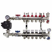 Underfloor Heating Brass 2-12 Ports Manifold + Grundfos / Wilo Pump + Pipe Conns