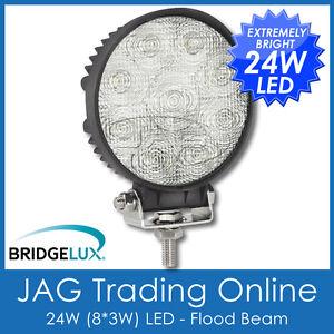 24W LED 12V~24V ROUND FLOOD/WORK LAMP- BOAT/CARAVAN/4X4/TRUCK/DECK/DRIVING LIGHT
