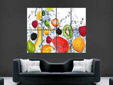 Fruits Frais Poster eau Abstract Citron Baies Banane Orange Wall Art Print