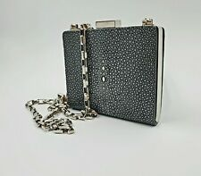 Michael Kors Collection Leather Sting Ray Kisslock Chain Clutch Evening Bag