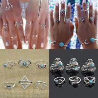 Trendy 6Pc/Set Silver Boho Fashion Arrow Moon Elephant Midi Finger Knuckle Rings