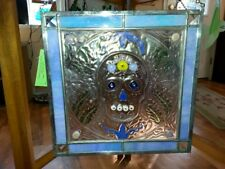 Stained Glass SUGAR SKULL PURPLES AND BLUES 13W x 12.5 T