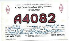 YORKSHIRE - SWINEFLEET, GOOLE  1964 QSL Radio Confirmation Card A4082