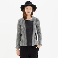 Madewell Motorcycle Gray Wool Leather Cardigan Sweater Jacket L  A9501