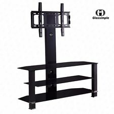"Cantilever Tempered Glass Black TV Stand w/Bracket for 32""-55"" Plasma LCD TV"