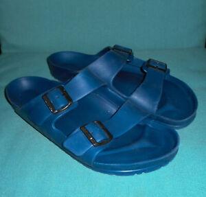 BIRKENSTOCK Sandals ARIZONA 2 strap NAVY BLUE Rubber Mens Sz 11 (44) Regular