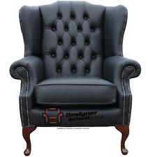 Fauteuil Chesterfield Mallory aile plat fauteuil haut dossier Cuir Noir Premium