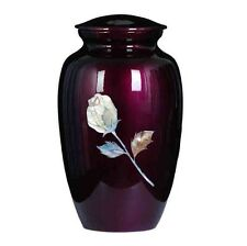 """New Cremation Urn, Metal,"""" Mother of Pearl Inlaid Rose """"Adult Burgandy color!!"""