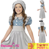 Victorian School Girl Costume Girls Kids Historical Book Week Child Fancy Dress