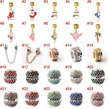 European Silver Charms Mermaid Beads CZ Xmas Pendant Fit 925 Sterling Bracelets