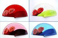 Fächer Taschenfächer Handfächer aus Holz u. Stoff Handbemahlt Blumen Nr.6