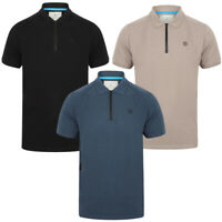 Dissident Men's Fusa Zip Collar Polo Shirt 100% Pique Cotton T-Shirt Casual Top