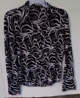 Studio Y Women's black and white patterned button front top-Size Medium-?L/S