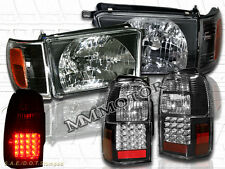 1996-1998 TOYOTA 4RUNNER BLACK STYLE HEADLIGHTS W/ CORNERS + LED TAIL LIGHTS BLK
